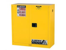 Justrite Sure-Grip EX 8930001 FM Safety Cabinet for Flammable Liquids, 2 Door, 1 Shelf, Manual Close