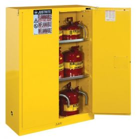 Justrite 8945001 Sure-Grip EX Flammable Safety Cabinet 45 Gallon 2 Manual-Close Doors Yellow