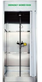 Enclosed Safety Shower and Eye Wash Station Cabinet in Stainless Steel